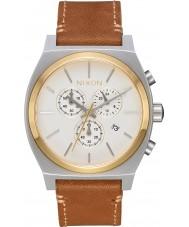Nixon A1164-2548 Mens tiempo cajero cuero marrón reloj cronógrafo