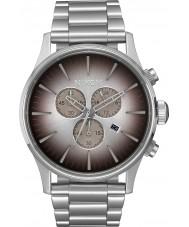 Nixon A386-2564 Mens centinela de acero de plata reloj cronógrafo
