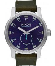 Nixon A938-2302 reloj de la correa de cuero para hombre patriota de oliva