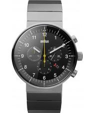 Braun BN0095BKSLBTG Para hombre de prestigio tono plateado reloj cronógrafo