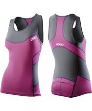 2XU WT2321A-CHR-UVT-XS Las señoras de carbón y ultra violeta de compresión singlete tri - el tamaño de xs
