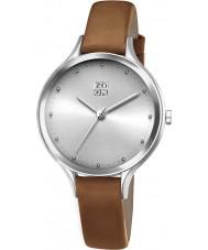 Zoom ZM-3837L-2522 Señoras de plata pura reloj marrón