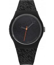 Superdry SYG169B reloj de la correa de silicona negro urbano con el logotipo impreso en color gris