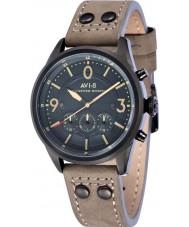 AVI-8 AV-4024-07 reloj cronógrafo de la correa de cuero gris para hombre del bombardero Lancaster