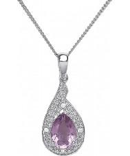 Purity 925 PUR3729P Damas púrpura amatista collar de plata de ley con la CZ