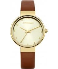 Karen Millen KM131TG reloj de la correa de cuero marrón de las señoras