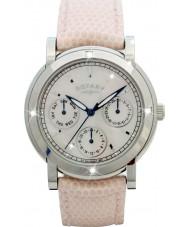 Rotary RLS00024-07-W Relojes de cuero blanco correa de reloj cronógrafo