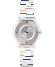 Swatch SFE108 Señoras de revestimiento delgada correa de reloj de silicona blanca