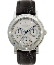 Rotary RLS00024-07-BLK Relojes de cuero negro correa de reloj cronógrafo