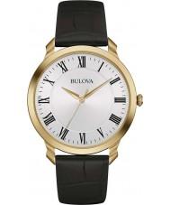 Bulova 97A123 vestido negro de cuero para hombre reloj de la correa