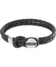 Emporio Armani EGS2178040 Para hombre de la firma pulsera de cuero negro