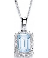 Purity 925 P1478P-2 Damas cielo azul topacio Collar de plata con la CZ