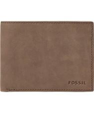 Fossil ML3446200 Mens nova cartera de cuero marrón con cierre de doble pliegue l