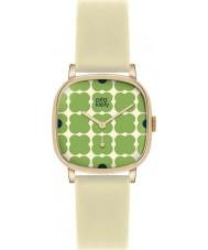 Orla Kiely OK2058 Señoras cecelia reloj verde florido correa de cuero color crema