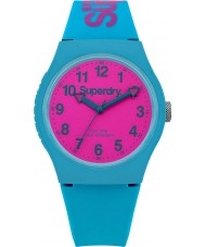 Superdry SYG164AUP reloj de la correa de silicona verde azulado urbana