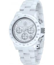 Klaus Kobec KK-10015-03 Racer reloj cronógrafo de cerámica blanca