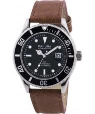 Kahuna KUS-0105G Reloj para hombre de la correa de cuero marrón