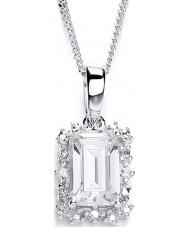 Purity 925 P1478P-1 Señoras de plata de ley 925 colgante de collar de racimo oblonga