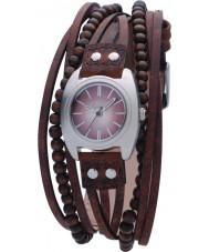 Kahuna KLS-0083L Damas de color marrón con cuentas de relojes de múltiples tanga
