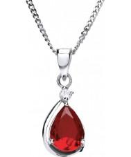 Purity 925 P3628P-2 Damas rojo rubí collar de plata con la CZ