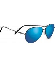 Serengeti aviador medio brillante bronce de cañón oscuro 555nm azul gafas de sol polarizadas espejo