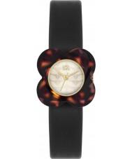 Orla Kiely OK2064 Las señoras de la amapola de la concha reloj de la correa de cuero negro caja de la flor