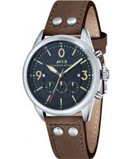 AVI-8 AV-4024-01 reloj cronógrafo correa de cuero marrón para hombre bombardero Lancaster