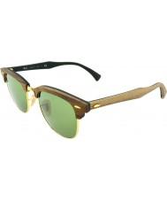 RayBan Rb3016m 51 clubmaster de goma de madera de nogal 11824e gafas de sol verdes