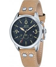 AVI-8 AV-4024-02 reloj cronógrafo de la correa de cuero beige para hombre del bombardero Lancaster
