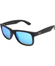 RayBan Rb4165 51 Justin caucho negro 622-55 gafas de sol de espejo azules