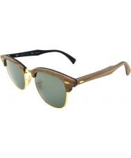 RayBan Rb3016m 51 clubmaster de goma de madera de nogal negro 118158 gafas de sol polarizadas