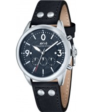 AVI-8 AV-4024-03 reloj cronógrafo correa de cuero negro para hombre del bombardero Lancaster