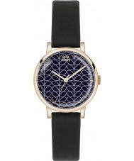 Orla Kiely OK2070 reloj de la correa de cuero negro satinado de impresión del tallo de las señoras Patricia