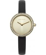 Karen Millen KM146BGA reloj de la correa fina de cuero negro de las señoras