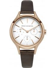 French Connection FC1273TRG reloj de la correa de cuero marrón de las señoras