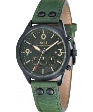 AVI-8 AV-4024-04 reloj cronógrafo para hombre de la correa de cuero verde bombardero Lancaster