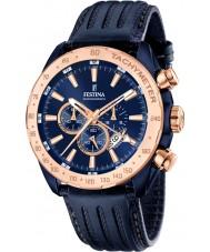 Festina F16897-1 el prestigio de cuero para hombre azul reloj cronógrafo