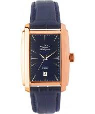 Rotary LE90014-05 Para hombre originales les subió reloj automático azul de oro