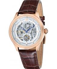Thomas Earnshaw ES-8039-04 Mens academia croco marrón reloj de la correa de cuero