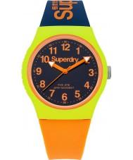 Superdry SYG164MU marina de guerra urbana reloj correa de silicona de color naranja