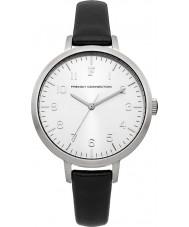 French Connection FC1248B reloj de la correa de cuero negro de las señoras
