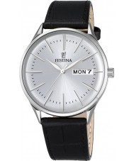 Festina F6837-1 Reloj para hombre de la correa de cuero negro retro