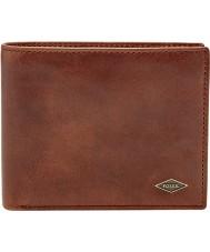 Fossil ML3736201 Mens Ryan cartera de cuero marrón oscuro con gran bolsillo de la moneda
