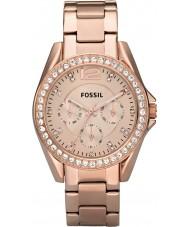 Fossil ES2811 Riley damas se levantaron de acero reloj cronógrafo de oro