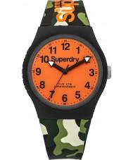 Superdry SYG164NO reloj de la correa de silicona de camuflaje verde urbano