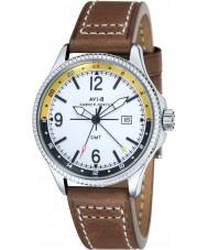 AVI-8 AV-4007-01 reloj de la correa de cuero marrón para hombre Hawker Hunter