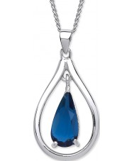 Purity 925 PUR3781P Damas collar de plata de ley 925 con cristales de color azul