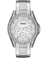 Fossil ES3202 Damas riley reloj cronógrafo de acero de plata