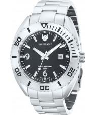 Swiss Eagle SE-9015-11 reloj de plata para hombre del negro de buceo torpedo
