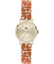 Orla Kiely OK2078 reloj de la correa de cuero de color naranja-crema de las señoras Patricia bellota de impresión